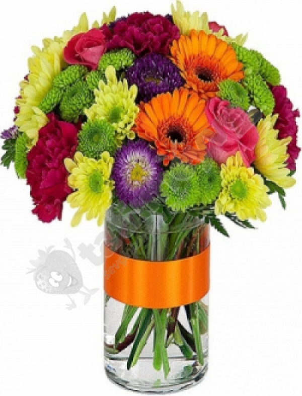 Vazoda renkli çiçekler - Çiçek Aranjmanı