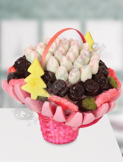 Pink Basket -  Çikolatalı Meyve Sepeti