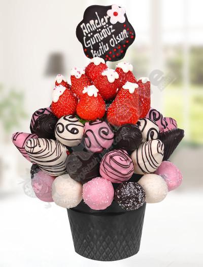 Çikolatalı Çiçek Meyve Sepeti