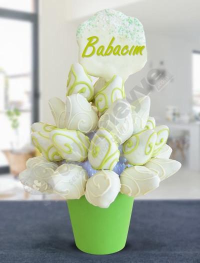 White Power Çikolatalı Meyve Sepeti